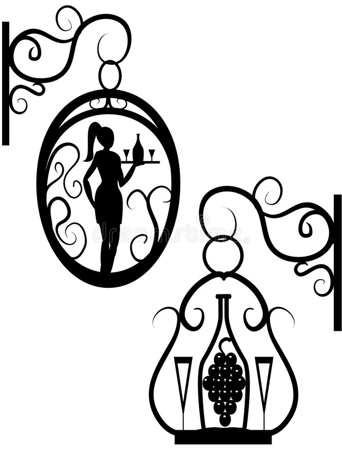 Street signboard. For a bar or restaurant with the girl the waitress and a bottle of wine in a vector royalty free illustration