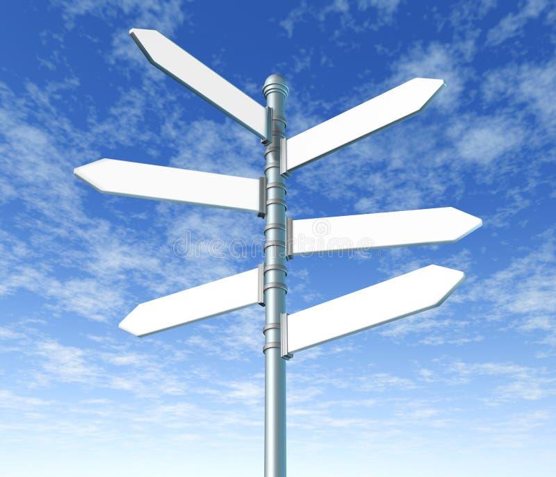 Street signpost multiple blank. Signpost street multiple blank on blue sky background royalty free illustration