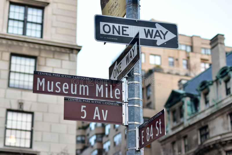 Street Signs along Museum Mile. In New York City stock images