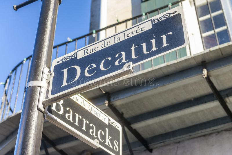 Street signs and architecture of the French Quarter in New Orleans, Louisiana. stock images