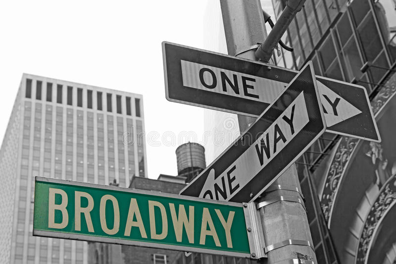Street signs for Broadway in NYC. Street signs for Broadway in Manhattan (New York City). Color Splash Efect Picture royalty free stock images