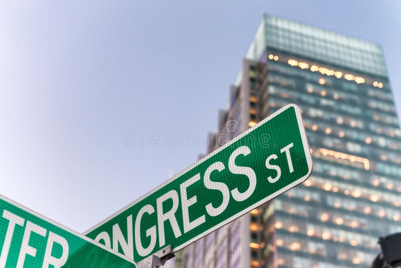Street signs and buildings of Boston, MA stock photography