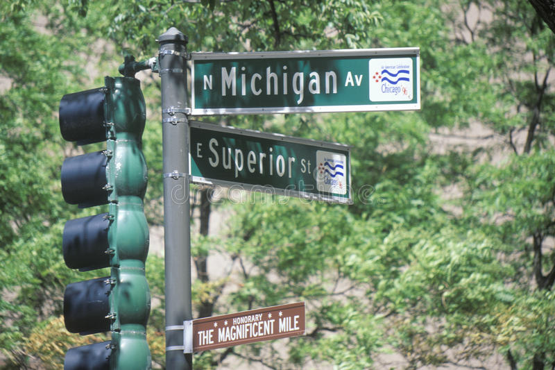 Street Signs In Chicago Royalty Free Stock Photo