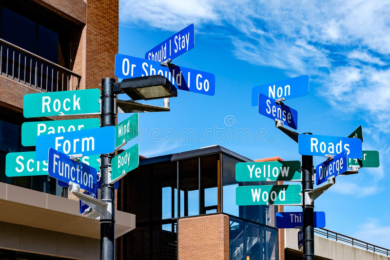 Street signs depicting concept of indecision. Or direction stock images