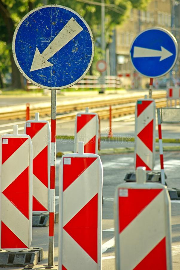 Street signs. Due to street reconstruction stock image