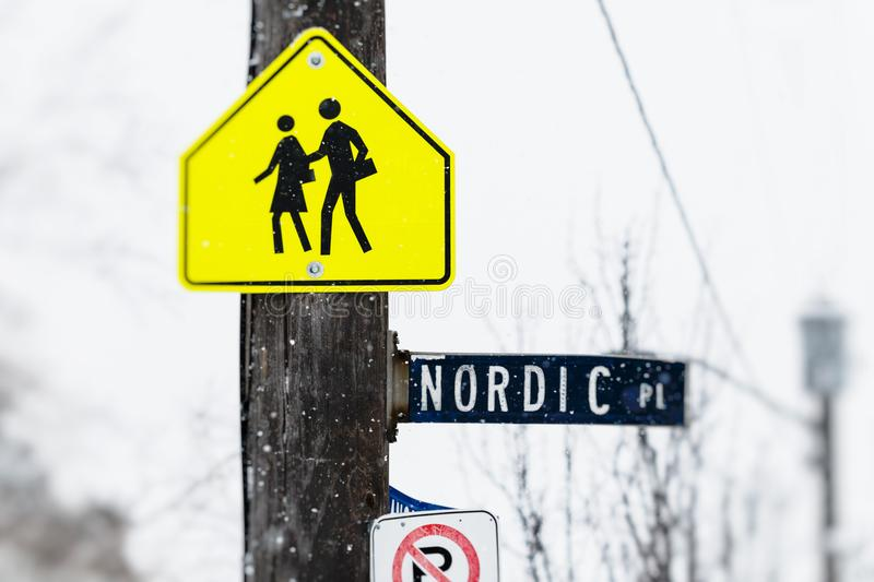 Student crossing nordic place sign royalty free stock photos