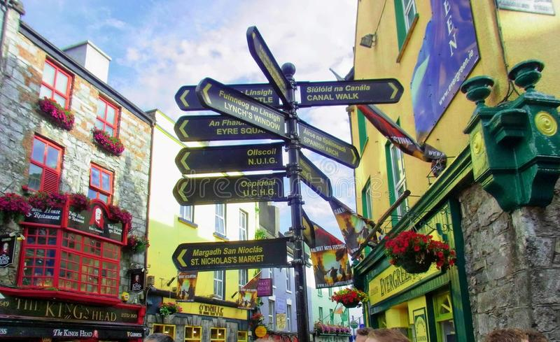 Street Signs in Ireland. Strees signs in Ireland are unique. The signs showing walks, countryside and other attractions are written in Irish spelling and also in stock image