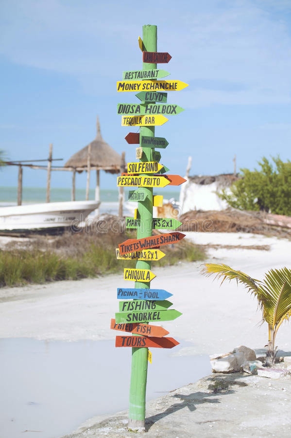 Street signs. Island street sign on the beach, mexico royalty free stock image