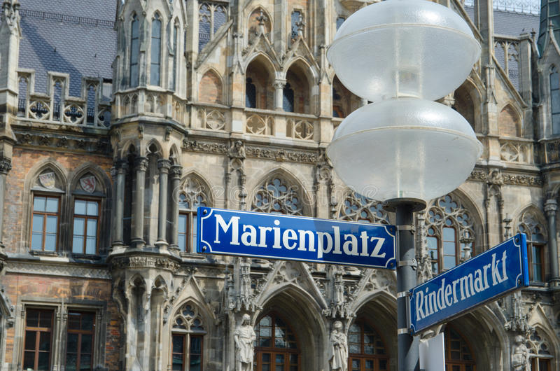 Street signs for Marienplatz and Rindermarkt in downtown Munich Germany. Street signs at the New Town Hall in Munich Germany royalty free stock images