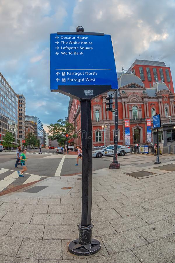 Street signs marking the direction to the famous sites, Washington DC. Washington DC, USA - AUGUST 31, 2018: Street signs marking the direction to the famous royalty free stock photography