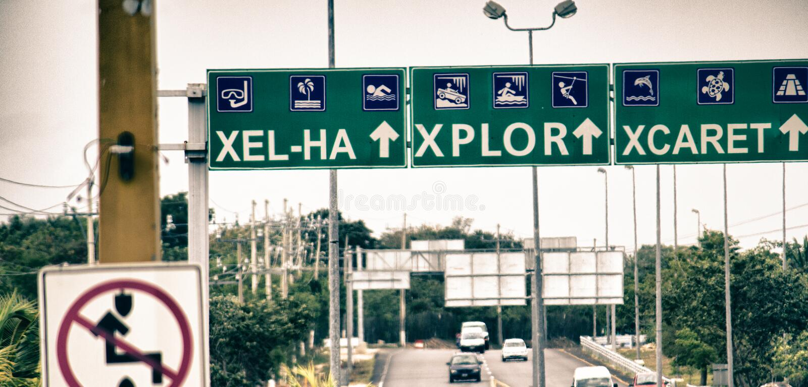 Mexico Street Signs. Street Signs on Mexican Roads stock photo