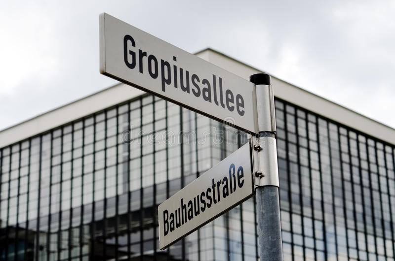 Street signs near Bauhaus. Building in Dessau, Germany stock image