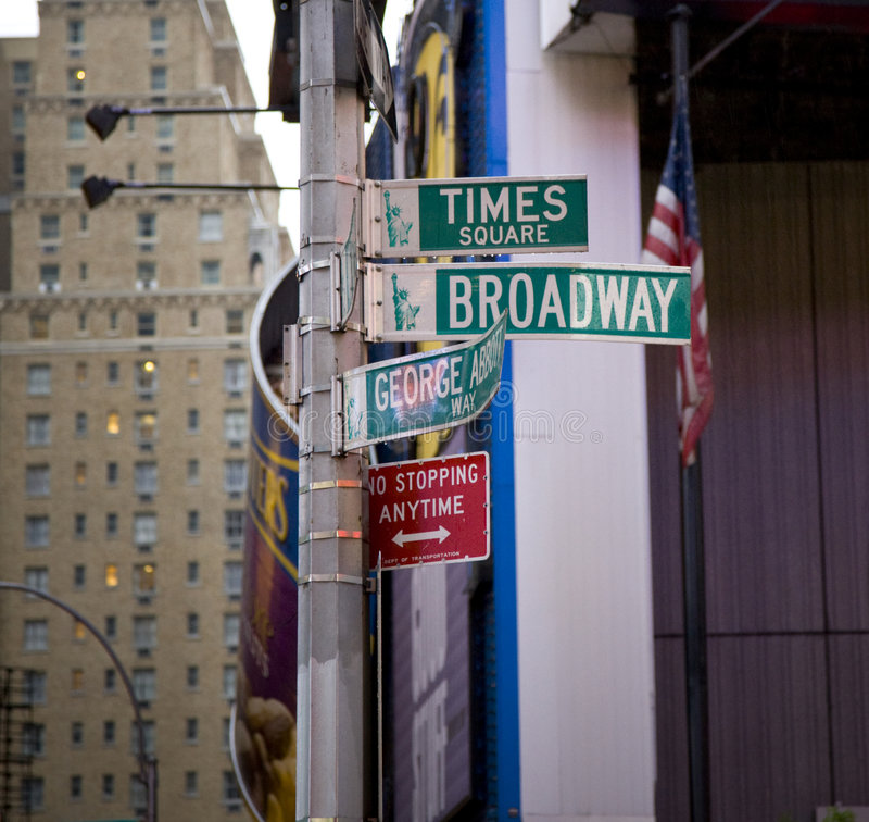 Street signs in New York. Broadway and Times square street signs in New York city royalty free stock images