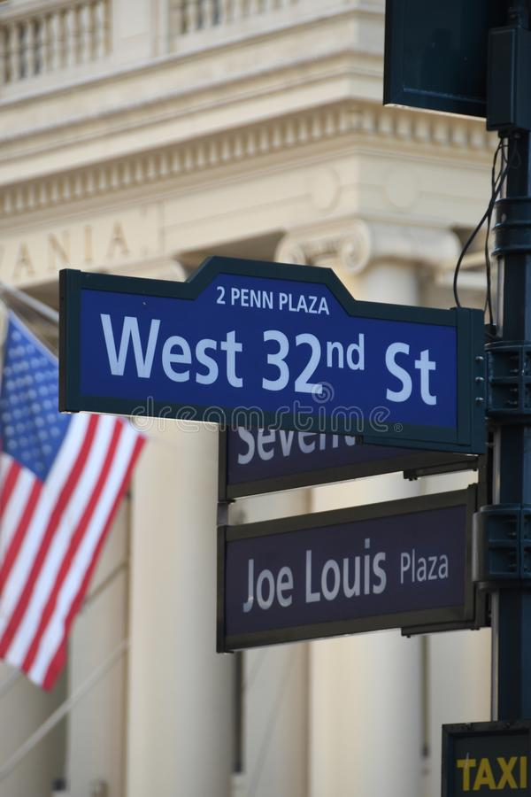 Street Signs in New York City. Street signs located in New York City showing the street numbers and names of streets stock photo