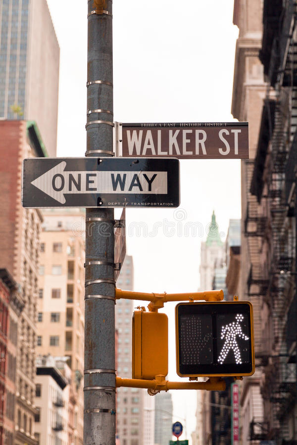 Street signs in New York SOHO, USA. Street signsand traffic lights in New York, USA royalty free stock photography