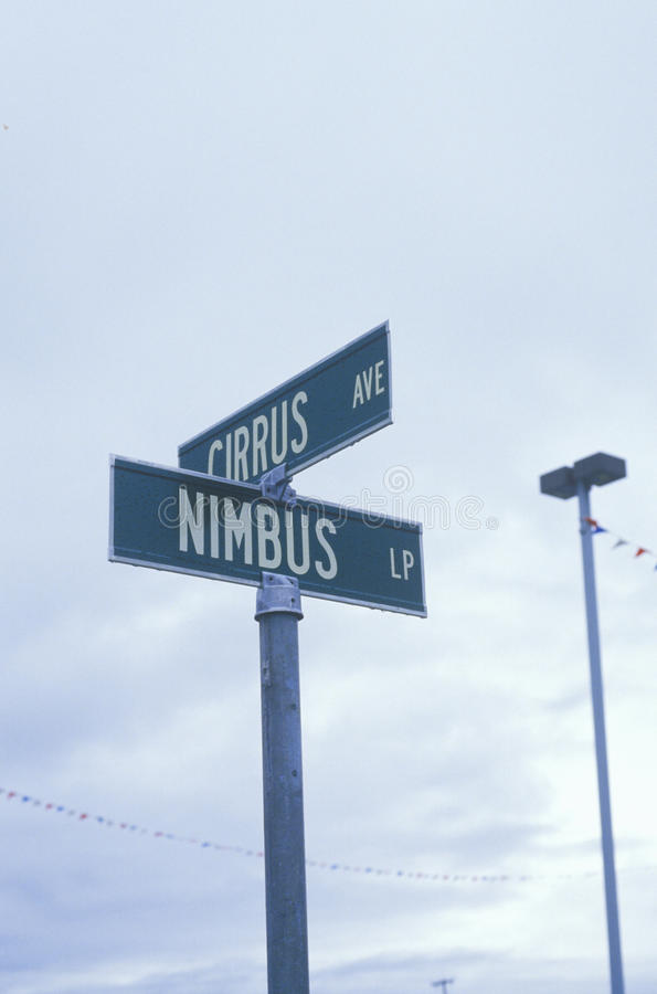 Street signs for Nimbus and Cirrus royalty free stock images