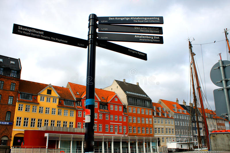Street signs at Nyhavn, Copenhagen, Denmark stock image