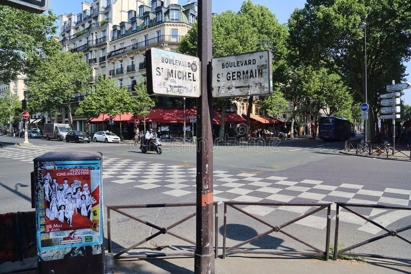 Street signs in Paris, France. Paris, France - May 19, 2018: Street signs of Boulevard Sait Michel and Saint Germain in Paris, France on May 19, 2018 stock photo