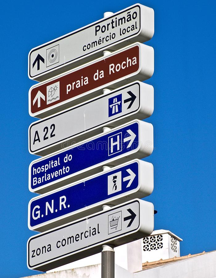 Street signs in Portimao in Portugal. Leading to the beach stock photos