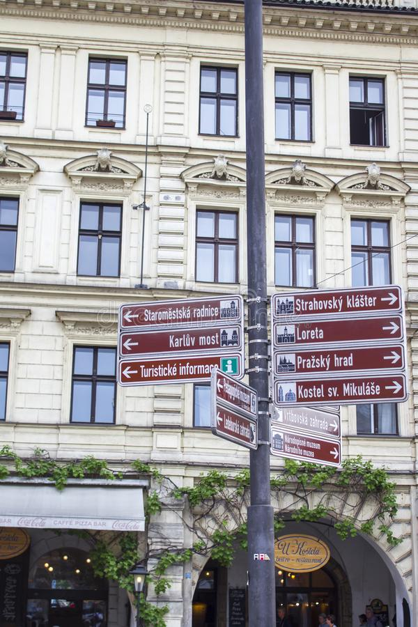 Street signs in Prague. Architecture of Prague. Old town stock photos