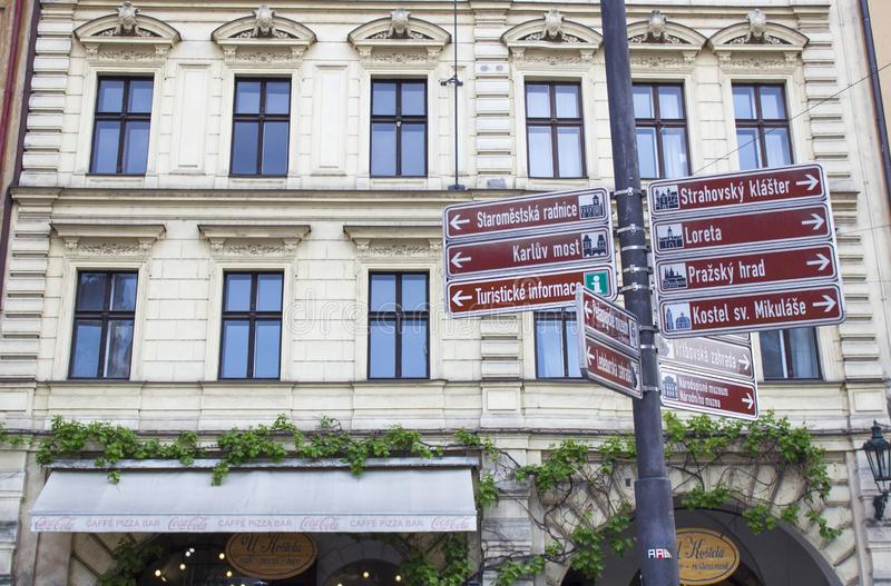 Street signs in Prague. Architecture of Prague. Old town royalty free stock photography