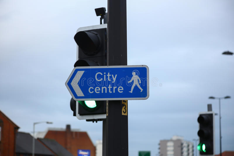 Street signs on a road in England. Street signs on a road in Chester royalty free stock images