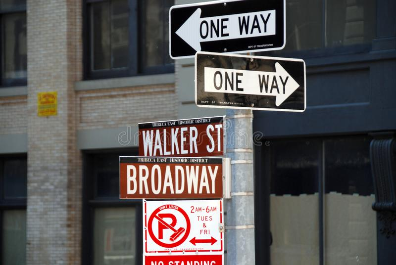 Street signs. Road signs on intersection Broadway and Walker Street in manhattan royalty free stock photos