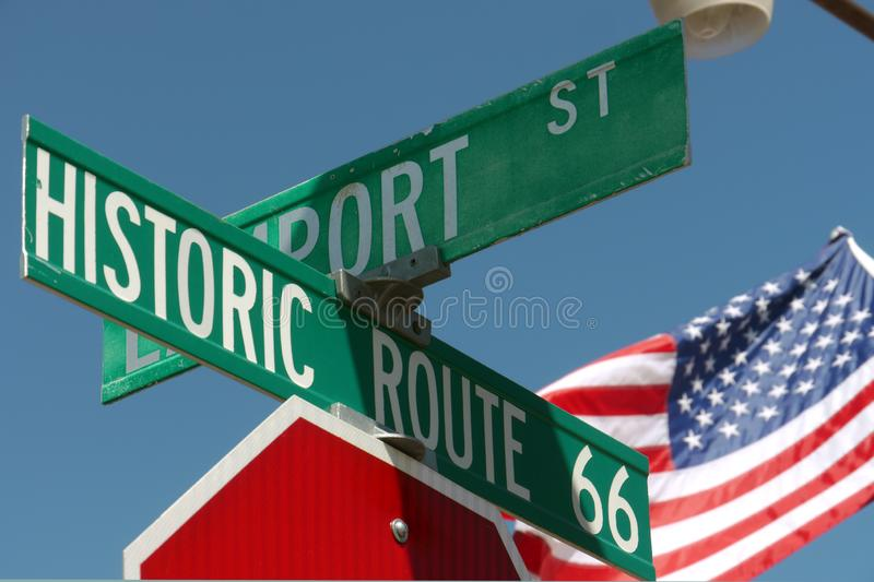 Street signs at Route 66, Arizona, USA. Street signs at Route 66, Seligman, Arizona, USA stock photos