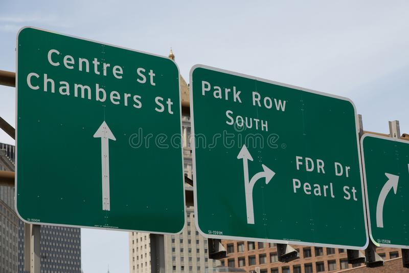 New York City. Street signs on the street of New York. With more than 8 million citizens it is the most populous city in the United States stock photo