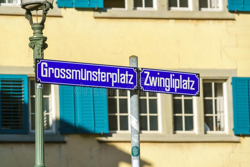 Street signs on the streets of the old city, Zurich, Switzerland. Street signs Grossmunsterplatz and Zwingliplatz on the streets of the old city, Zurich royalty free stock photos