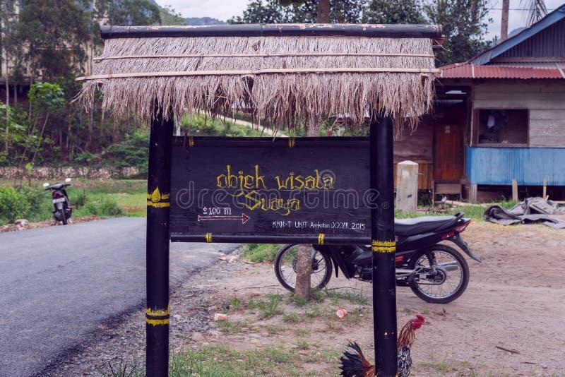 Street signs of Suaya site in Tana Toraja. Indonesia stock image