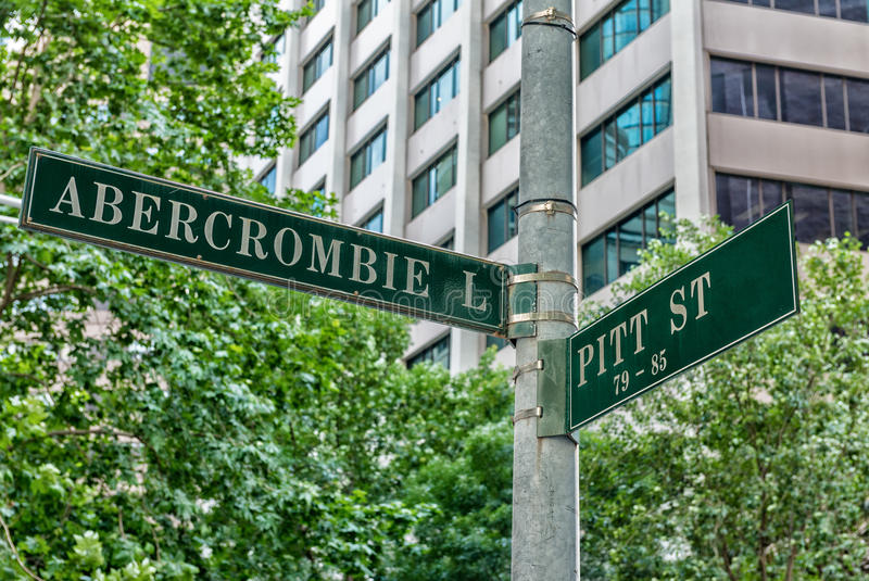 Street signs in Sydney road intersections royalty free stock image