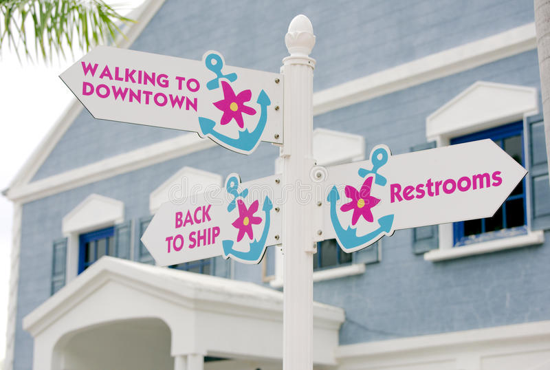 Street signs. In town directions royalty free stock image
