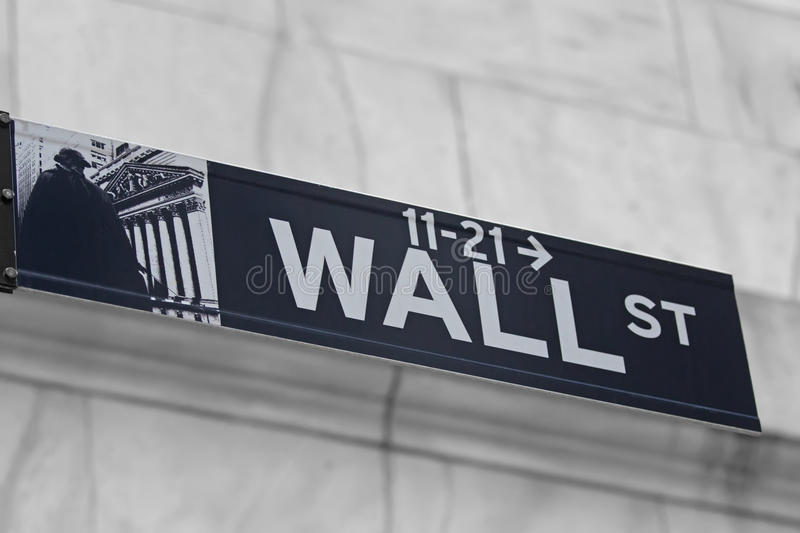 Street signs for Wall Street in NYC. Street signs for Wall Street in Lower Manhattan (New York City stock images