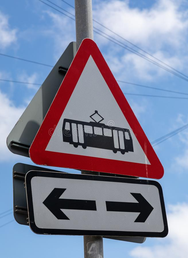 Street signs warning of tramway in both directions Great Orme Llandudno North Wales may 2019. Street signs warning of tramway in both directions at Great Orme royalty free stock image