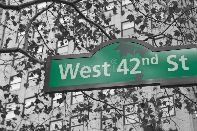Street signs for West 42nd street in NYC. royalty free stock images