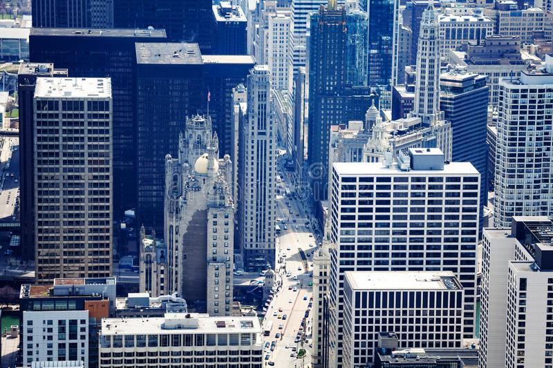 Street and skyscrapers in Chicago close crop view royalty free stock image