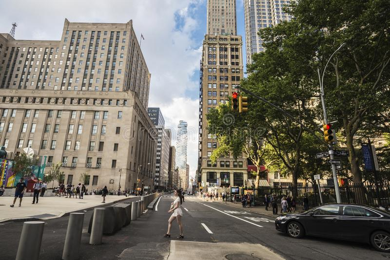 Street with skyscrapers in Manhattan in New York City, USA royalty free stock photos