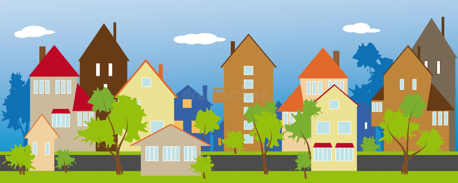 Download The street of a small town stock vector. Image of suburb - 24775580