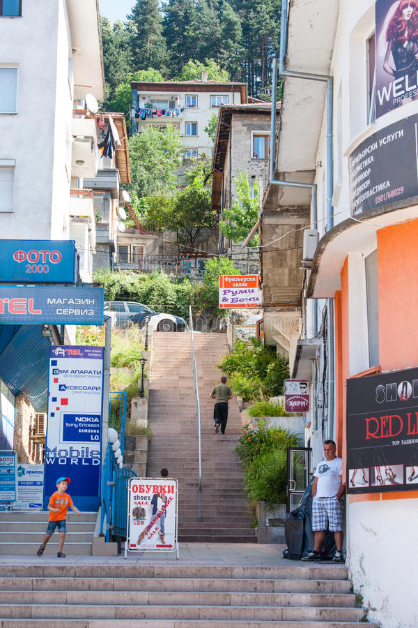 Street in Smolyan leading uphill royalty free stock photos