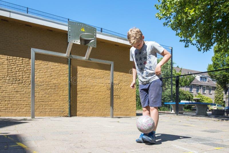 Street soccer boy stock images