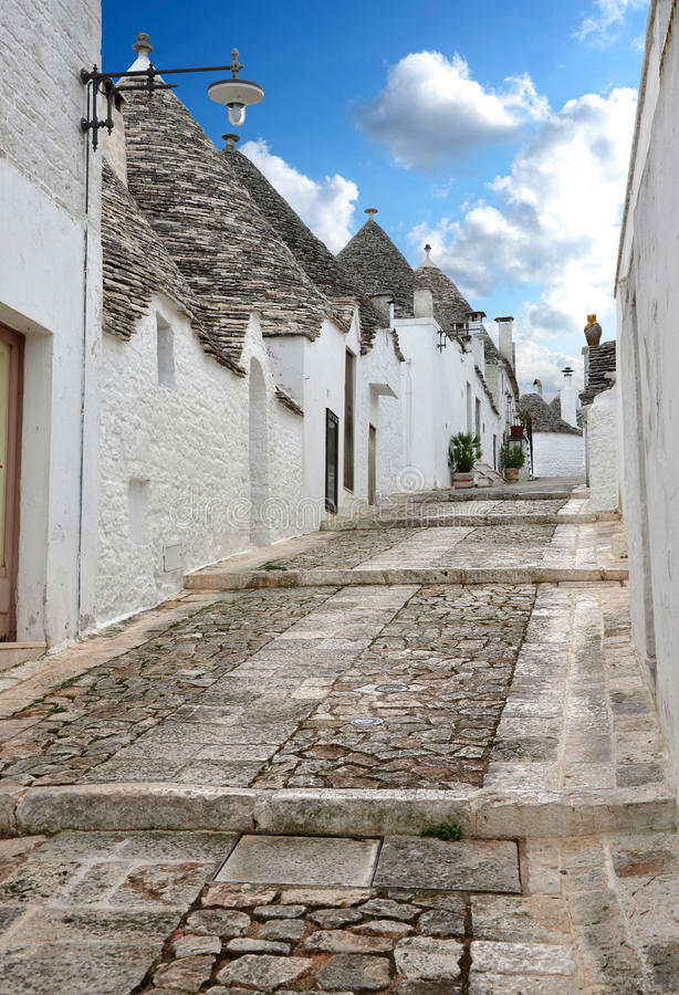 Street in the southern Italian town of Alberobello royalty free stock images