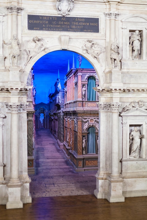 Street on stage in inside of Teatro Olimpico royalty free stock photo