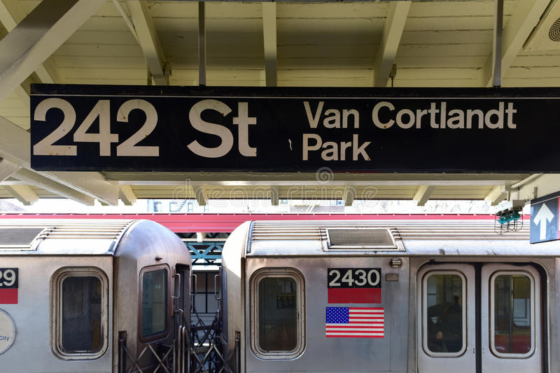 242 Street Station - NYC Subway. MTA 242 Street Station Van Cortlandt Park in the New York City Subway System. It is the terminus of the 1 train line in the stock photo