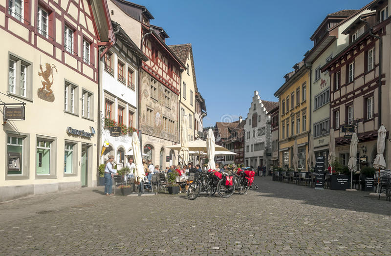 Street Stein am Rhein. In Switzerland on a sunny day. There are market shop and restaurant, is an editorial image royalty free stock image