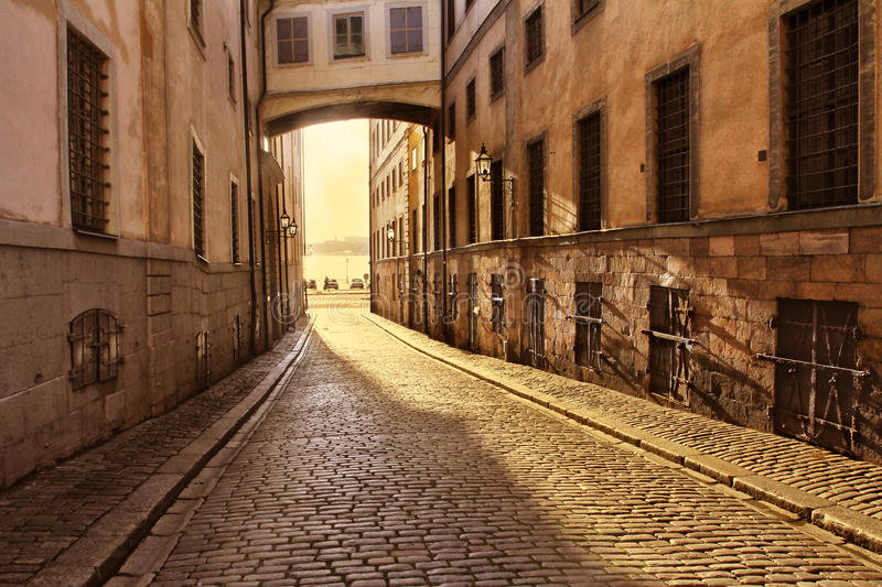 Street in Stockholm in the evening stock photo
