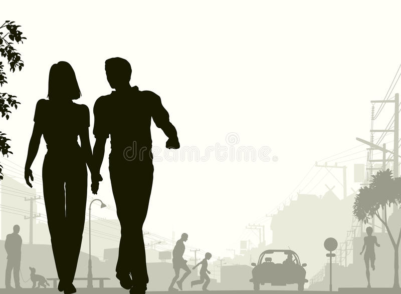 Download Street stroll stock vector. Image of outdoors, foreground - 12367446
