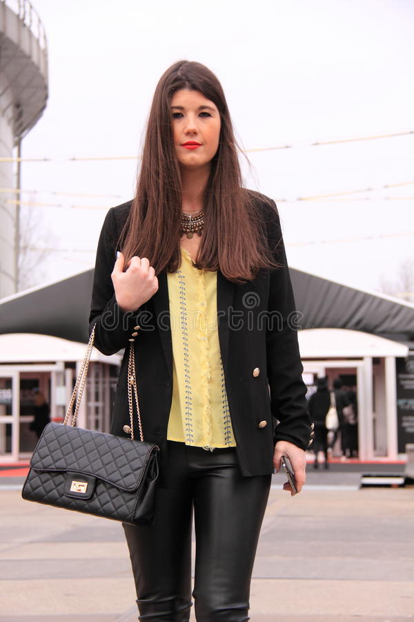 Street style fashion leather pants royalty free stock image