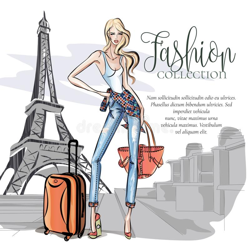Street style girl wearing denim with travel bags posing near Eiffel tower in Paris, weekend travel vacation in Europe vector illus. Tration art stock illustration
