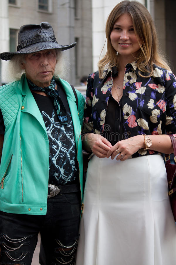 Street Style during Milan Fashion Week for Spring/Summer 2014 royalty free stock photography